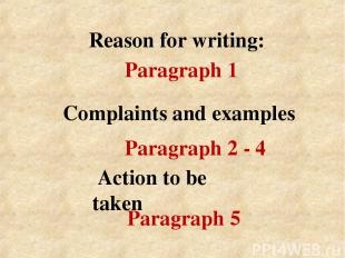 Reason for writing: Action to be taken Complaints and examples Paragraph 1 Parag