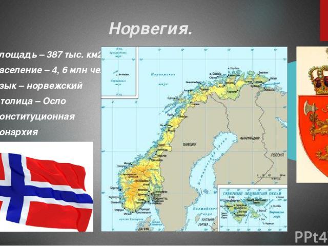Норвегия. Площадь – 387 тыс. км2 Население – 4, 6 млн чел. Язык – норвежский Столица – Осло Конституционная монархия
