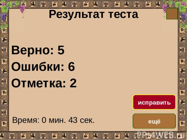 Результат теста Верно: 5 Ошибки: 6 Отметка: 2