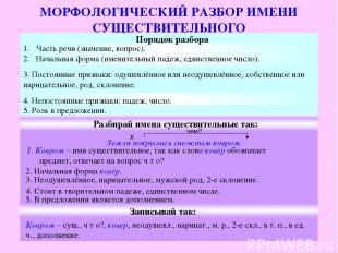 МОРФОЛОГИЧЕСКИЙ РАЗБОР ИМЕНИ СУЩЕСТВИТЕЛЬНОГО Порядок разбора Часть речи (значен