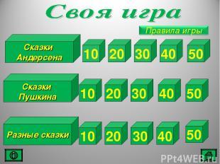 Разные сказки 20 30 40 50 20 30 40 50 20 30 40 50 Сказки Пушкина Сказки Андерсен