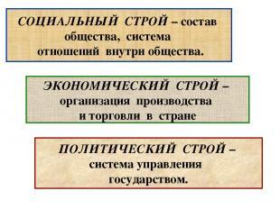 ПОЛИТИЧЕСКИЙ СТРОЙ – система управления государством. СОЦИАЛЬНЫЙ СТРОЙ – состав