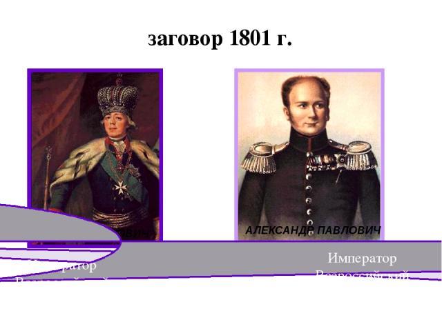 заговор 1801 г. ПАВЕЛ ПЕТРОВИЧ АЛЕКСАНДР ПАВЛОВИЧ Император Всероссийский 1801-1825 гг. Император Всероссийский 1796-1801 гг.