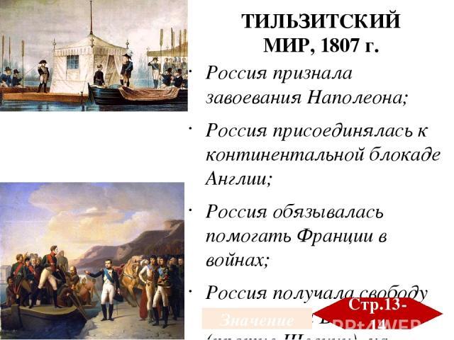 Россия признала завоевания Наполеона; Россия присоединялась к континентальной блокаде Англии; Россия обязывалась помогать Франции в войнах; Россия получала свободу действий на Балтике (против Швеции), на Балканах и Кавказе (против Турции) Создано ге…