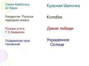 Красная Шапочка Колобок Дикие лебеди Украденное Солнце Синяя бейсболка. Ш.Перро