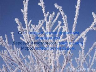 Снег покрыл землю пушистым покрывалом. Деревья и кустарники тоже в снегу. Мороз
