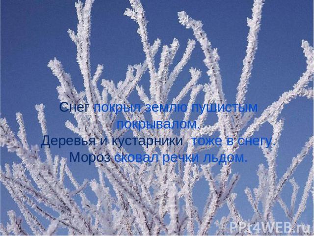 Снег покрыл землю пушистым покрывалом. Деревья и кустарники тоже в снегу. Мороз сковал речки льдом.