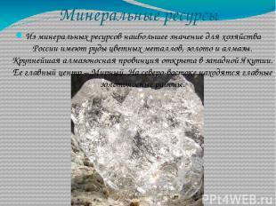 Минеральные ресурсы Из минеральных ресурсов наибольшее значение для хозяйства Ро