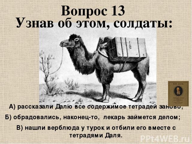 Узнав об этом, солдаты: Вопрос 13 А) рассказали Далю все содержимое тетрадей заново; Б)обрадовались, наконец-то, лекарь займется делом; В) нашли верблюда у турок и отбили его вместе с тетрадями Даля.