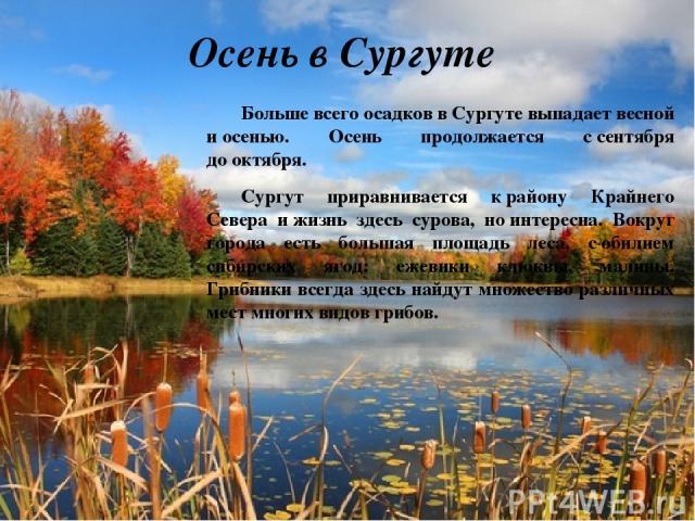 Осень в Сургуте Больше всего осадков вСургуте выпадает весной иосенью. Осень продолжается ссентября дооктября. Сургут приравнивается крайону Крайнего Севера ижизнь здесь сурова, ноинтересна. Вокруг города есть большая площадь леса, собилием …