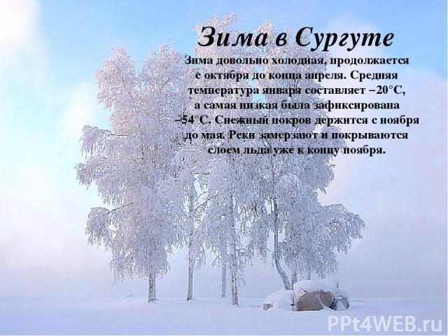 Зима в Сургуте Зима довольно холодная, продолжается соктября доконца апреля. Средняя температура января составляет −20°С, асамая низкая была зафиксирована −54°С.Снежный покров держится сноября домая. Реки замерзают ипокрываются слоем льда уже…