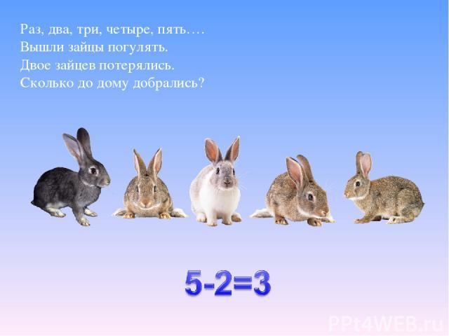 Раз, два, три, четыре, пять…. Вышли зайцы погулять. Двое зайцев потерялись. Сколько до дому добрались?
