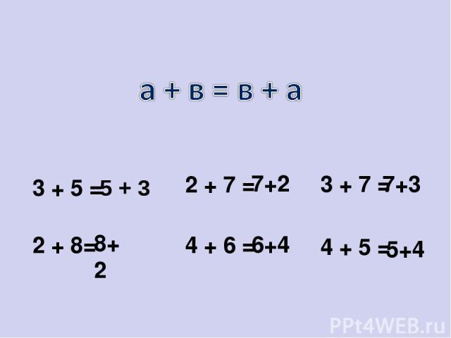 3 + 5 = 2 + 7 = 3 + 7 = 2 + 8= 5 + 3 7+3 8+2 7+2 4 + 6 = 4 + 5 = 6+4 5+4