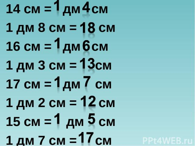 14 см = дм см 1 дм 8 см = см 16 см = дм см 1 дм 3 см = см 17 см = дм см 1 дм 2 см = см 15 см = дм см 1 дм 7 см = см