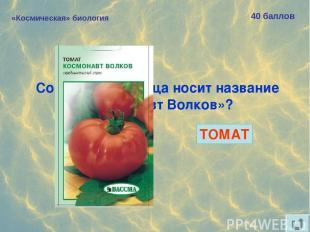 «Космическая» биология 40 баллов Сорт какого овоща носит название «Космонавт Вол