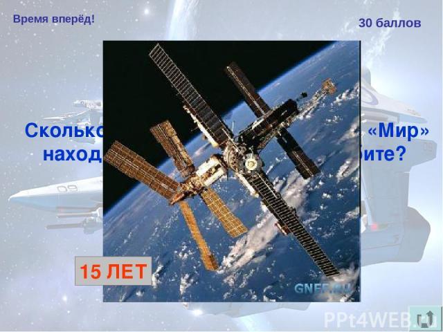 Время вперёд! 30 баллов Сколько лет космическая станция «Мир» находилась на околоземной орбите? 15 ЛЕТ
