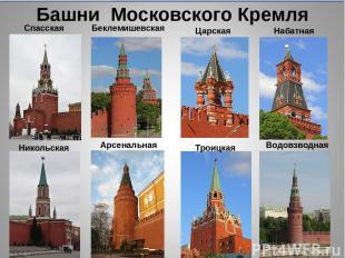 Башни Московского Кремля Спасская Беклемишевская Царская Набатная Никольская Тро