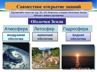 Оболочки Земли Атмосфера Литосфера Гидросфера воздушная оболочка каменная оболоч