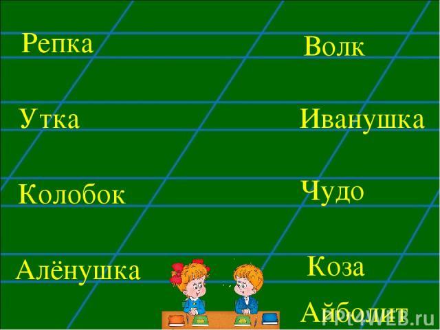Утка Колобок Волк Чудо Алёнушка Репка Иванушка Коза Айболит