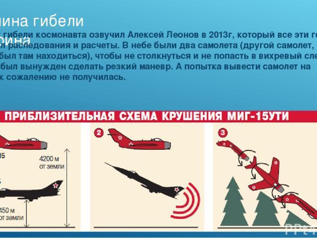 Причина гибели гагарина Причину гибели космонавта озвучил Алексей Леонов в 2013г, который все эти годы проводил раследования и расчеты. В небе были два самолета (другой самолет, не должен был там находиться), чтобы не столкнуться и не попасть в вихр…