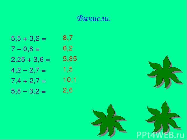 Вычисли. 5,5 + 3,2 = 7 – 0,8 = 2,25 + 3,6 = 4,2 – 2,7 = 7,4 + 2,7 = 5,8 – 3,2 = 8,7 6,2 5,85 1,5 10,1 2,6