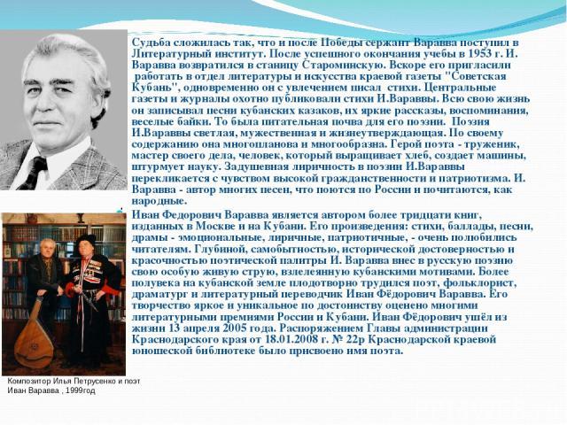 Судьба сложилась так, что и после Победы сержант Варавва поступил в Литературный институт. После успешного окончания учебы в 1953 г. И. Варавва возвратился в станицу Староминскую. Вскоре его пригласили работать в отдел литературы и искусства краево…