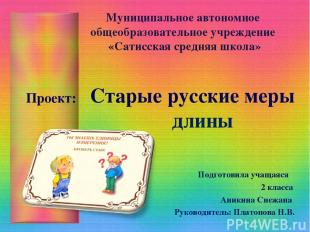 Муниципальное автономное общеобразовательное учреждение «Сатисская средняя школа