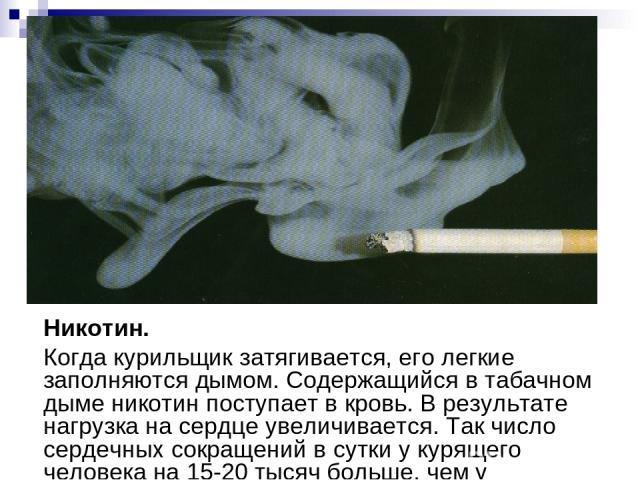 Никотин. Когда курильщик затягивается, его легкие заполняются дымом. Содержащийся в табачном дыме никотин поступает в кровь. В результате нагрузка на сердце увеличивается. Так число сердечных сокращений в сутки у курящего человека на 15-20 тысяч бол…