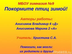 МБОУ гимназия №9 Покормите птиц зимой! Авторы работы: Анисимов Владимир 4 «Д» Ан