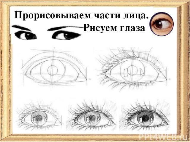 Прорисовываем части лица. Рисуем глаза