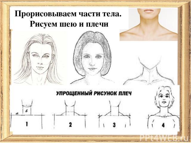 Прорисовываем части тела. Рисуем шею и плечи