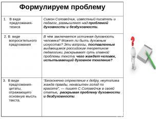 Формулируем проблему В виде предложения-тезиса Симон Соловейчик, известный писат
