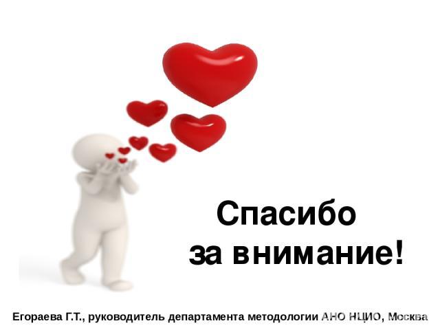 Спасибо за внимание! Егораева Г.Т., руководитель департамента методологии АНО НЦИО, Москва