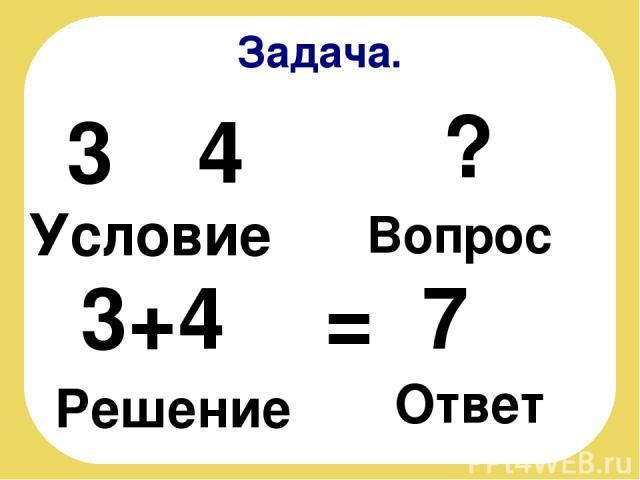 Задача. Условие 3 4 ? Вопрос 3+4 = 7 Решение Ответ