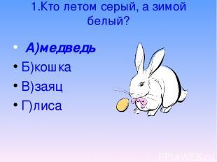 1.Кто летом серый, а зимой белый? А)медведь Б)кошка В)заяц Г)лиса