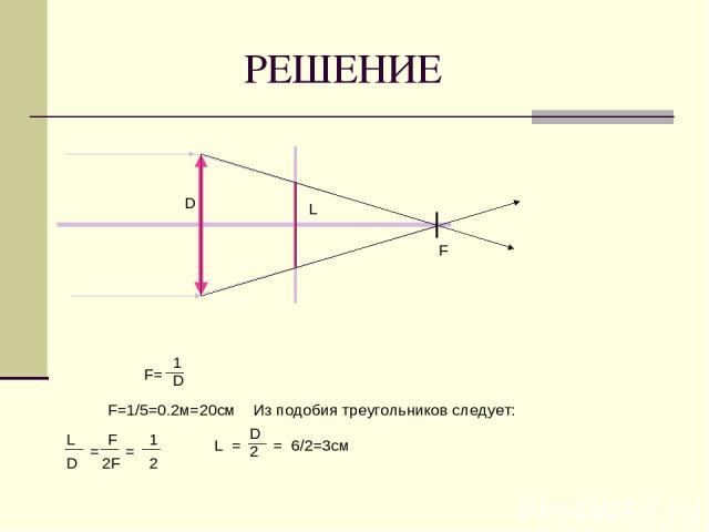 РЕШЕНИЕ F D L F= 1 D F=1/5=0.2м=20см F 2F = = 1 = = 2 L D L D 2 6/2=3см Из подобия треугольников следует: