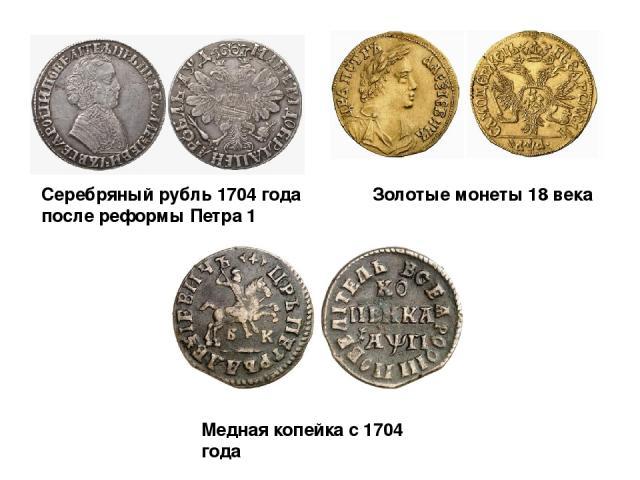 Медная копейка с 1704 года Серебряный рубль 1704 года после реформы Петра 1 Золотые монеты 18 века