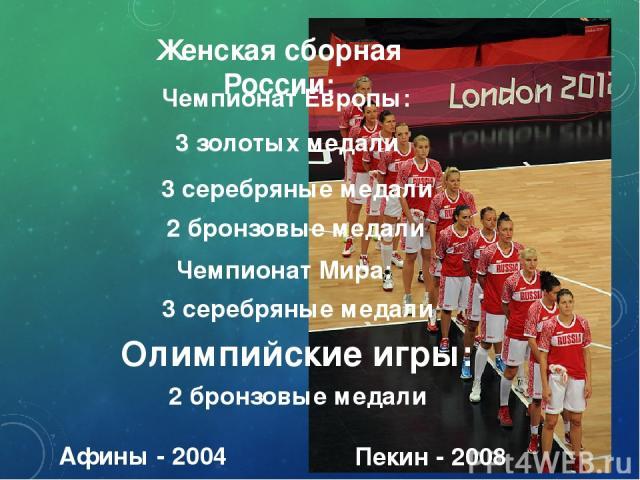 Женская сборная России: 3 золотых медали Чемпионат Европы: 3 серебряные медали 2 бронзовые медали Чемпионат Мира: 3 серебряные медали Олимпийские игры: 2 бронзовые медали Афины - 2004 Пекин - 2008