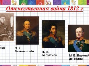 Отечественная война 1812 г А. С. Фигнер П. X. Витгенштейн П. И. Багратион М. Б.