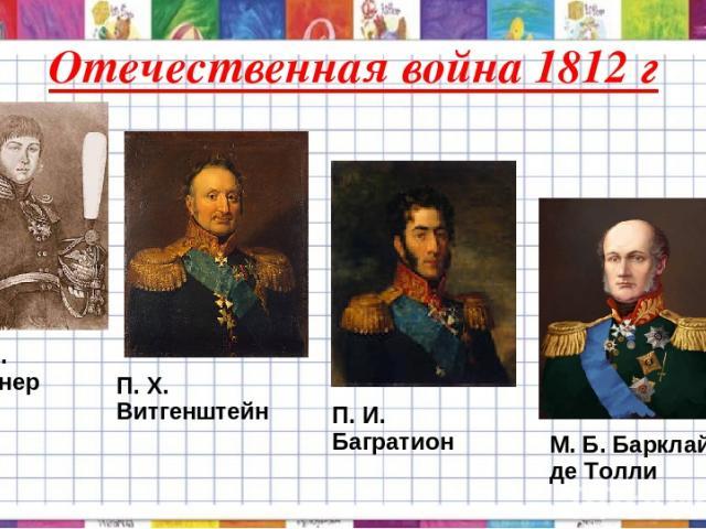 Отечественная война 1812 г А. С. Фигнер П. X. Витгенштейн П. И. Багратион М. Б. Барклай де Толли