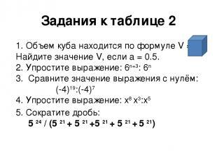 Задания к таблице 2 1. Объем куба находится по формуле V = а3. Найдите значение