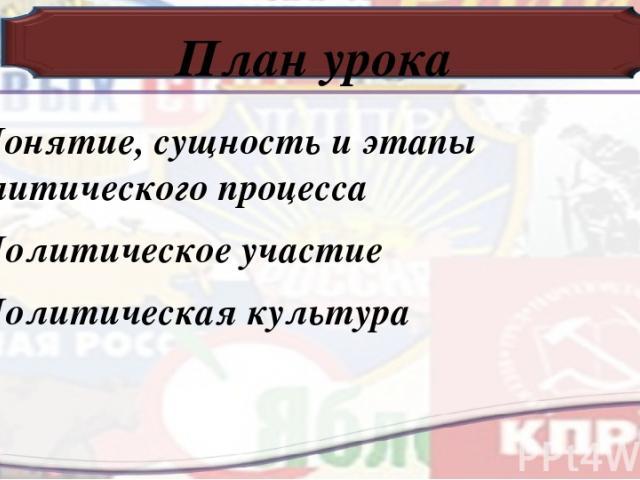 План урока 1.Понятие, сущность и этапы политического процесса 2.Политическое участие 3.Политическая культура