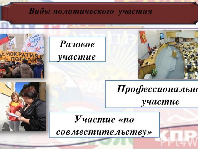 Виды политического участия Разовое участие Участие «по совместительству» Профессиональное участие