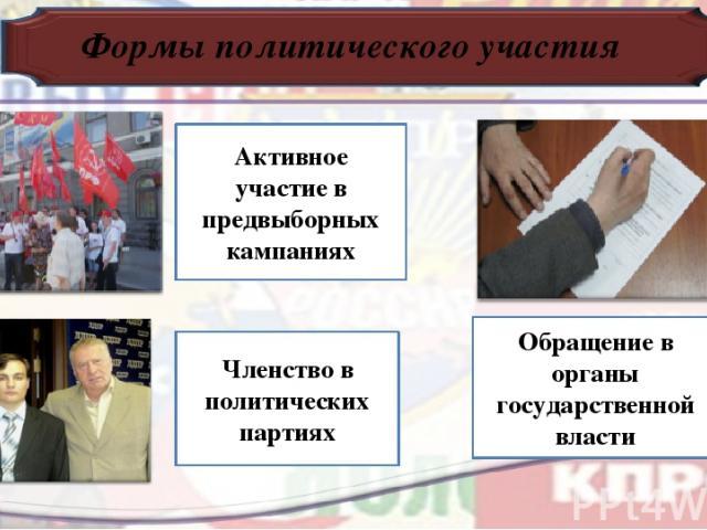 Формы политического участия Активное участие в предвыборных кампаниях Членство в политических партиях Обращение в органы государственной власти