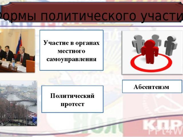Формы политического участия Участие в органах местного самоуправления Абсентеизм Политический протест