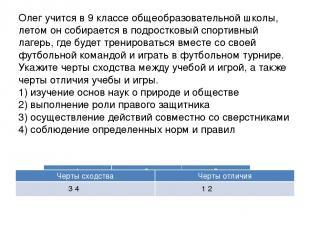 Олег учится в 9 классе общеобразовательной школы, летом он собирается в подростк