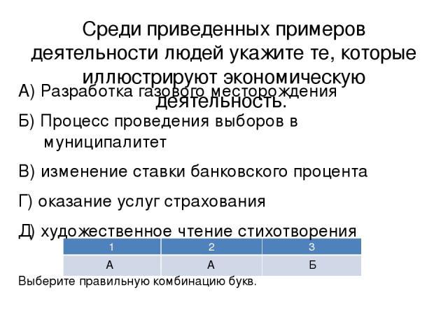 Среди приведенных примеров деятельности людей укажите те, которые иллюстрируют экономическую деятельность. А) Разработка газового месторождения Б) Процесс проведения выборов в муниципалитет В) изменение ставки банковского процента Г) оказание услуг …