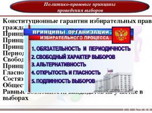 Политико-правовые принципы проведения выборов Конституционные гарантии избирател