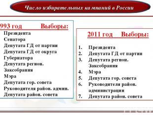 Число избирательных кампаний в России 1993 год Выборы: Президента Сенатора Депут
