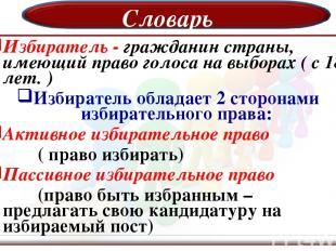 Словарь Избиратель - гражданин страны, имеющий право голоса на выборах ( с 18 ле